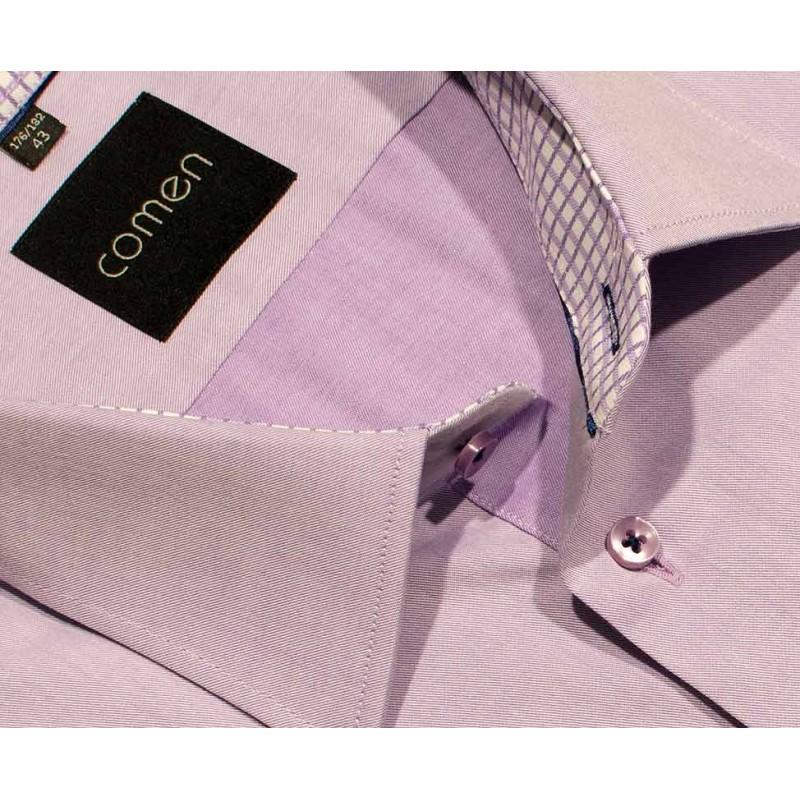 Koszula Comen 26006482 regular krótki rękaw fioletowa 43
