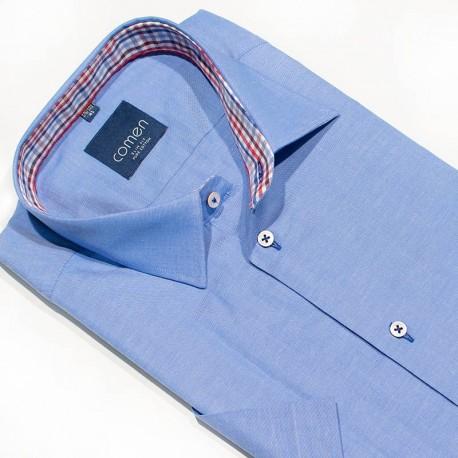 Krótki rękaw Comen 26007038 koszula 100% bawełna niebieski 41 43 44
