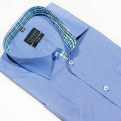 Taliowana koszula Comen z krótkim rękawem niebieska 40 41 43 44 45 46