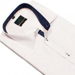 Koszula kr.rękaw Comen 26007014 slim biała w kropki 41 42 43 44 45 46