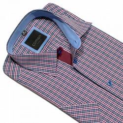 Fioletowo-granatowa koszula w kratke Comen krótki rękaw slim 39 40 41