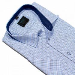 Koszula krótki rękaw Comen niebieska kratka slim 41 42 43 44 45 46