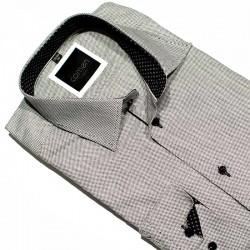 Koszula Comen dł. rękaw zwężana szara z teksturą krateczki r. 39 41 42