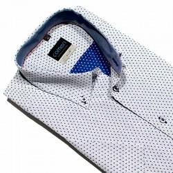 Szara koszula Comen z krótkim rękawem w kropki 41 42 43 48