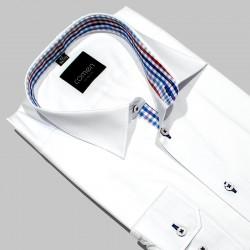 Koszula długi rękaw Comen biała z wykończeniem w kratke r. 42 43 44