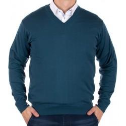 Męski sweter Kings 100*S-402 4006 petrol blue - morski r. M XL