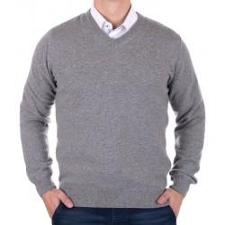 Wełniany pulower w szpic Tris Line 1800V szaro-popielaty M L XL 2XL 3XL