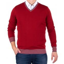 Czerwony sweter - pulower w szpic Tris Line 1642V roz. M L XL 2XL 3XL