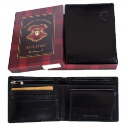 Czarny, skórzany portfel Meltoni B4105