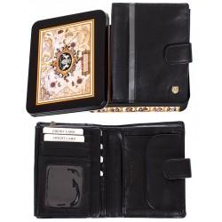 Skórzany portfel Meltoni L6117/A czarny z szarą lamówką