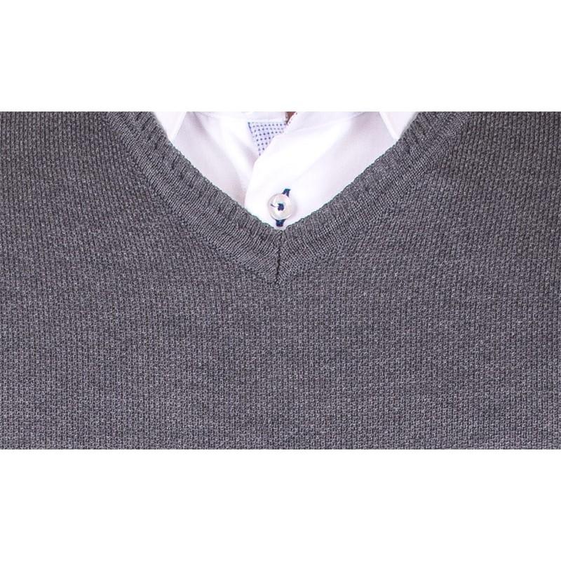 Szary sweter w szpic Lanieri 10-101-11 kol 213