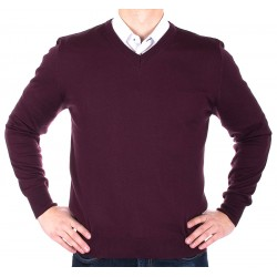 Śliwkowy sweterek typu v-neck Lidos 1203 roz. M L XL 2XL 3XL