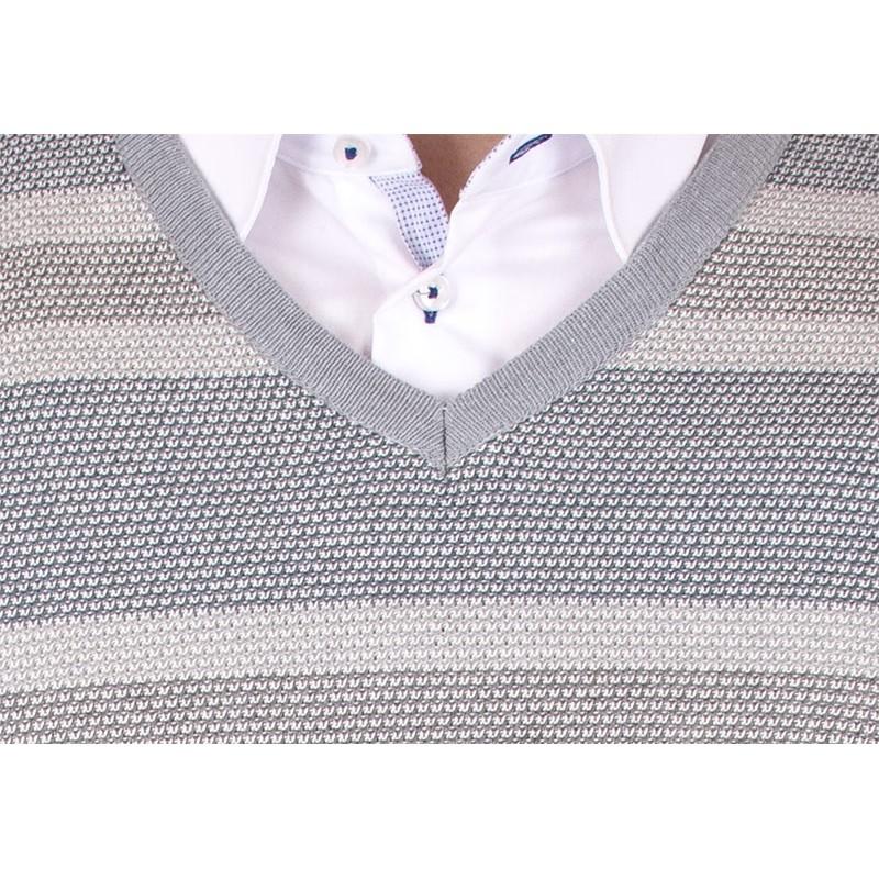 Szary sweter w szpic Kings Elkjaer w paski 26507