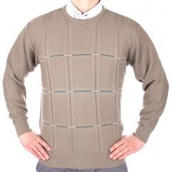 Beżowo-oliwkowy sweter Kings Elkjaer 6270 U-neck kol. 899 M L XL 2XL