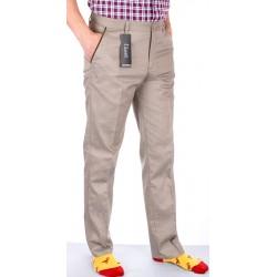 Niezwężane beżowe spodnie Lord R-7 drobna pepitka roz. 82-116 cm