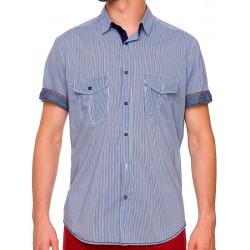 Koszula krótki rękaw Roy KS201 ST002 18 niebieska w paski M L XL 2XL
