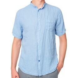 Niebieska lniana koszula Roy krótki rękaw KS267 CEBU na stójce M L XL