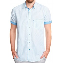 Koszula Roy KS300 Barre 7311 krótki rękaw biała w paski M L XL 2XL 3XL