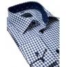 Granatowa koszula w kratkę Comen slim długi rękaw 39 40 41 42 43 44 45