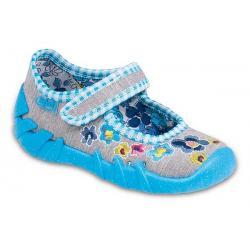 pantofle Befado 109P066 Speedy szary niebieski