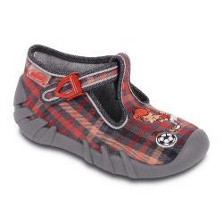 pantofle Befado 110P113 Speedy kratka czerwony szary
