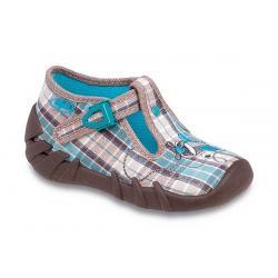 pantofle Befado 110P144 Speedy kratka brązowy niebieski