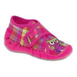 pantofle Befado 112P066 Speedy różowe w kratkę