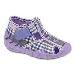 pantofle Befado 190P031 Speedy fioletowy krata