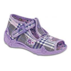 pantofle Befado 213P046 Papi fioletowy w kratkę