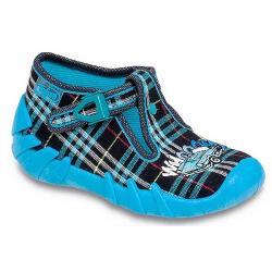 pantofle Befado 110P141 Speedy granatowo niebieska kratka