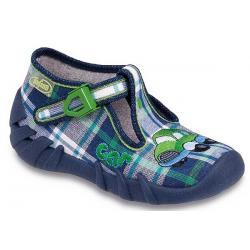 pantofle Befado 110P140 Speedy granatowo zielona kratka