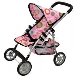 wózek dla lalek Adar 081024 wzór M1308 różowy w koła