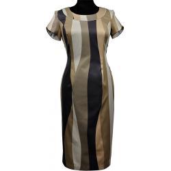 sukienka Dziekański Nora 112 paski brązowe beżowe