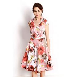 sukienka Dziekański Merlin 51 kwiaty łososiowa