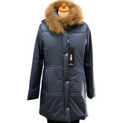kurtka z lisem BIBA Fergi niebieska rozmiar 40 42 44 46 48 50