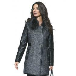 płaszcz z futrem Vivero P-1485 Conmar melanż czarny rozm. 36 38 40 42