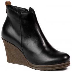 botki na koturnie Lan-Kars Shoes B97-1 czarne