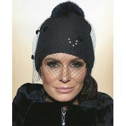 czapka damska Conmar Vivero CZ-01 czarna z woalką
