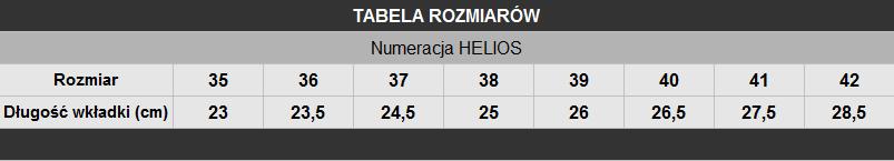 tabela rozmiarów buty Helios