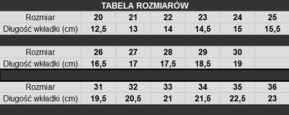 tabela rozmiarów Kornecki