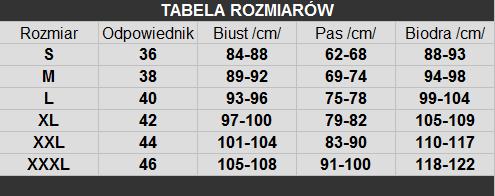tabelka rozmiarów Livia Corsetti