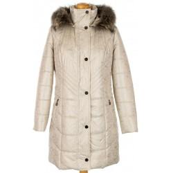 kurtka z lisem Biba Jagoda jasno beżowa rozmiar 40 42 44 46 48 50