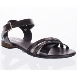sandały skóra Lan-Kars D342-1-FLO-1 czarne rozmiar 36 37 38 39 40