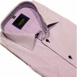 Koszula Comen z krótkim rękawem slim fioletowa gładka 39 40 44