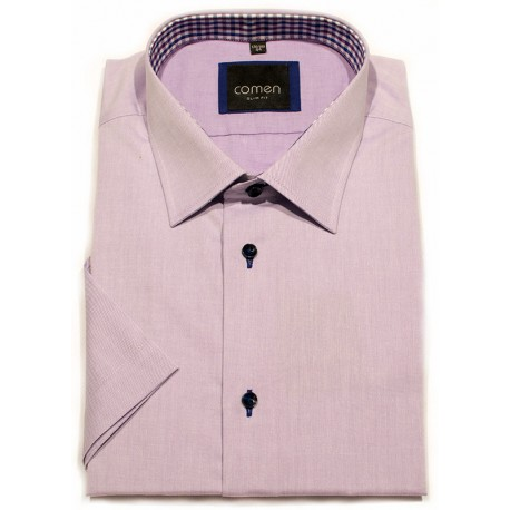 Koszula krótki rękaw Comen 26012100 fiolet slim 39 40 44