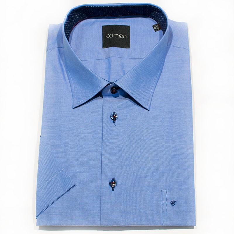 Koszula k.rękaw Comen 26012094 100% bawełna c. niebieski regular 46