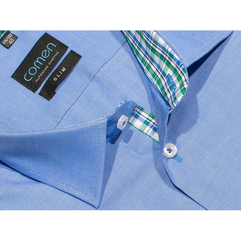 Koszula z krótkim rękawem Comen 26011134, slim, niebieska 40 41 45 46