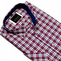 Koszula slim z krótkim rękawem Comen czerwono-biała kratka 40 41