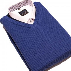 sweter V-neck Lasota Hermes niebieski atlantic