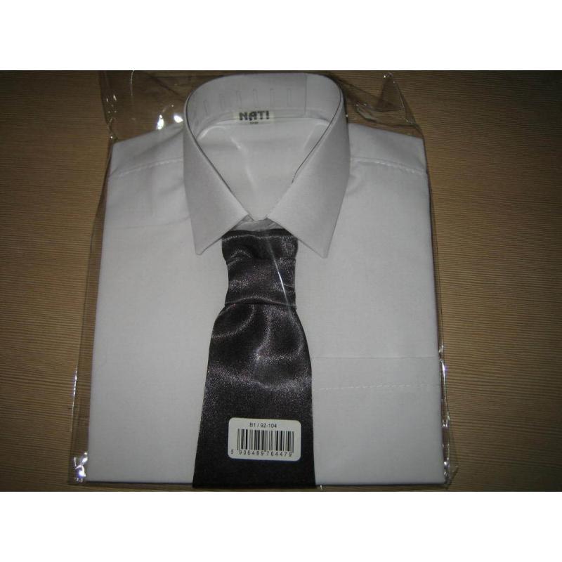 koszula z krawatem Nati długi rękaw biały
